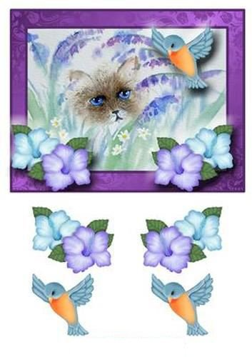 Gatto e Bluebird decoupage by Pamela West Craftsuprint