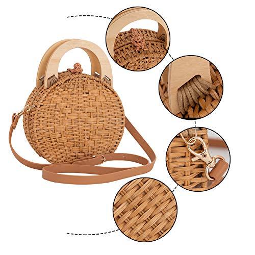 LONGBLE rottingväska rund – korg vävd halm väska bohemiska handväskor med trähandtag handgjord axelväska axelväska tygväska för semester arbete party shopping dejting fritid