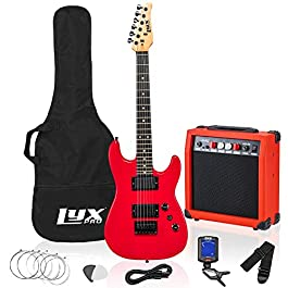LyxPro 36 Inch Electric Guitar and Kit for Kids with 3/4 Size Beginner's Guitar, Amp, Six Strings, Two Picks, Shoulder…