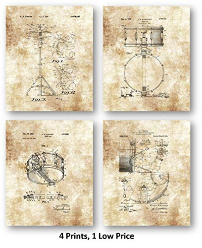 Snare Drum, Cymbal, and Pedal - Music Practice Room Decor- Set of 4 8 x 10 Unframed Patent Prints - Great Gift for Drummers, Percussionists, Band Members and Musicians
