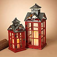 GIL 2427260 S/2 Nesting Wood and Metal LAN Christmas, 11InL x 11InW x 27InH, Red