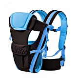 DAMAIFENG Ergonomic Baby Carrier Backpack, Adjustable Waistband for 6 Comfortable Safe positions, Multifunctional Adjustable Buckle Mesh Wrap Baby Carrier Backpack (Blue)