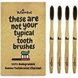 #6: Bamboo Charcoal Infused Toothbrush W/ 15 Degree Angle & Soft BPA Free Nylon Bristles - 100% Organic and Biodegradable Wooden Toothbrush For Adults - Pack Of 4 Best Toothbrushes For Sensitive Gums
