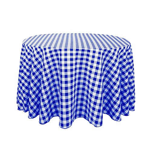 LinenTablecloth 108-Inch Round Polyester Tablecloth Blue & White Checker (White Round 108 Inch Tablecloth)