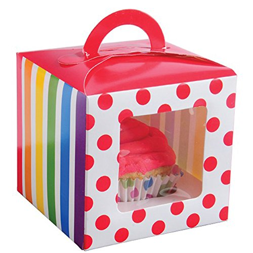 Lot Of 12 Rainbow Design Cupcake Carrier Boxes (Cheap Cupcake Boxes)