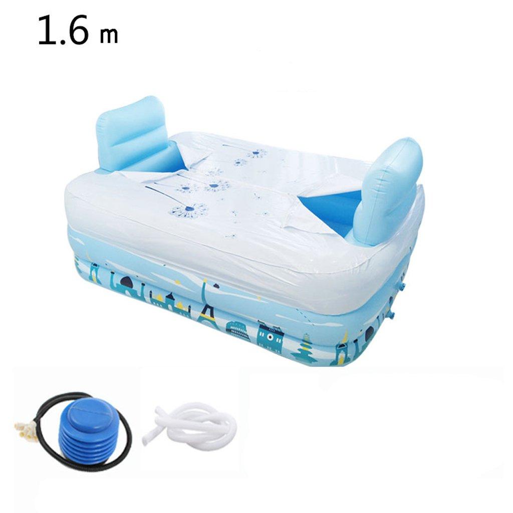 Ali@ Eco PVC-Haushalts-Sommer-Paar-doppelte faltende aufblasbare Badewanne für Innen-   Gebrauch im Freien (Farbe   1.6m+Insulation Cover)