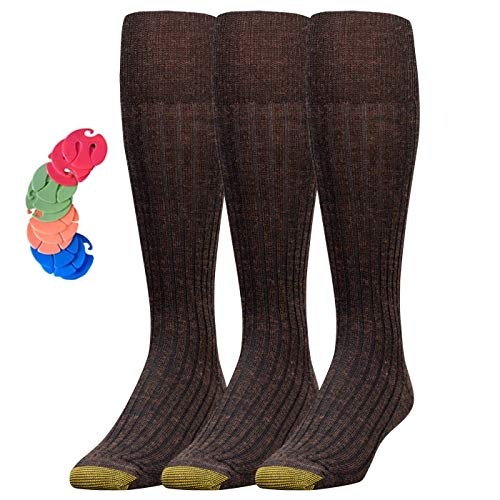 Men's Windsor Wool-Blend Over-the-Calf Dress Sock/Free Sock Clips Included (Brown, 3) (Ribbed Wool Blend)