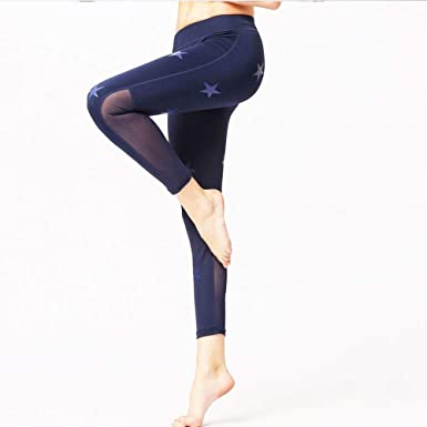 HaiDean Pantalón De Yoga para De Malla Empalme Mujer Estrella ...