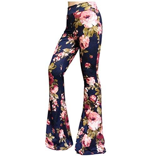 n's High Waist Wide Leg Long Bell Bottom Yoga Pants X-Large Romantic Rose (Navy) Pink ()