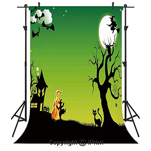 Halloween Decorations Photography Backdrops,Witch Dancing with Fire at Halloween Ancient Western Horror Image,Birthday Party Seamless Photo Studio Booth Background Banner 3x5ft,Green Black ()