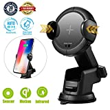 NEQUIO Wireless Charger Car Mount with Infrared Sensor - Dashboard, Air Vent or Windshield Cell Phone Holder for iPhone X, 8/8 Plus, Samsung Galaxy Note 9/8, S9/S8/S7/S6 Edge and Other Qi-Enabled Phones