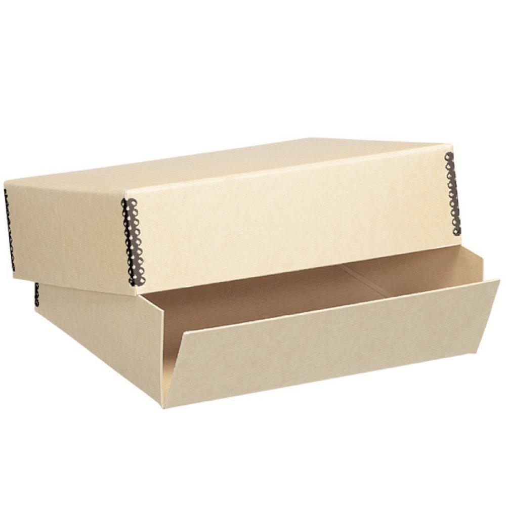 Lineco Archival 8x10'' Print Storage Box, Drop Front Design, 8 1/2'' x 10 1/2'' x 3'', Exterior Color: Tan.