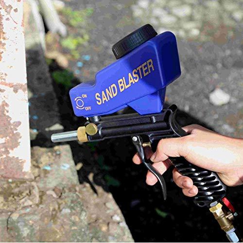 petite machine de sablage au jet de sable bleu Bleu Pistolet de sablage portatif Ensemble de sablage pneumatique pour dispositif de sablage antirouille