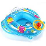 Flotador para Niño Bebé Forma de coche Natación para 15-30kg Dibujo Tren Color Azul