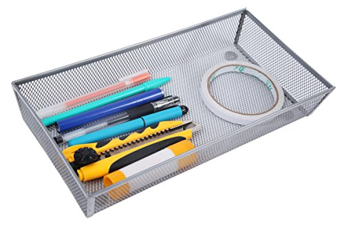 Finnhomy Mesh Drawer Organizer and Shelf Storage Bins School Supply Holder Office Desktop Cabinet Sliver 6