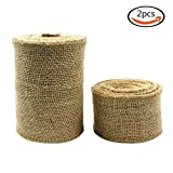 Outuxed 2 Rolls Natural Jute Burlap Ribbon Rolls (1 Roll of 2