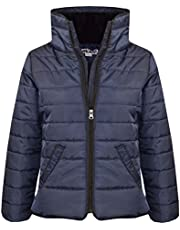 Girls Jacket Kids Navy Padded Puffer Bubble Faux Fur Collar Warm Coats 5-13 Yrs
