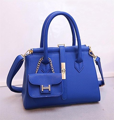 30 Madam Ladies Pu Bag Blue 34 13cm Yanx Handbag Lock Shoulder Fashion Tote zZH6Hp