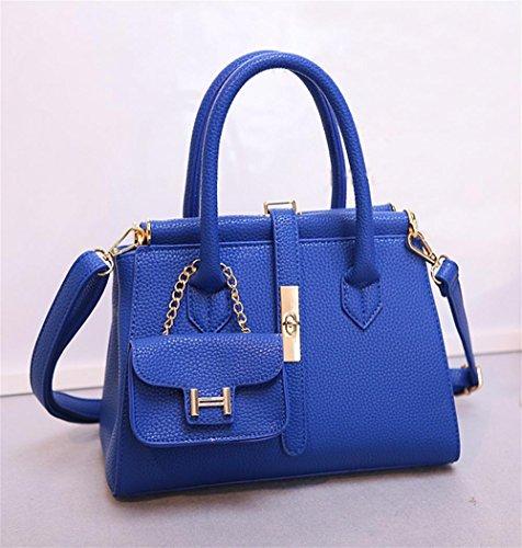 Shoulder 13cm Yanx Handbag Ladies Lock 30 Madam 34 Blue Fashion Tote Pu Bag 11APYq