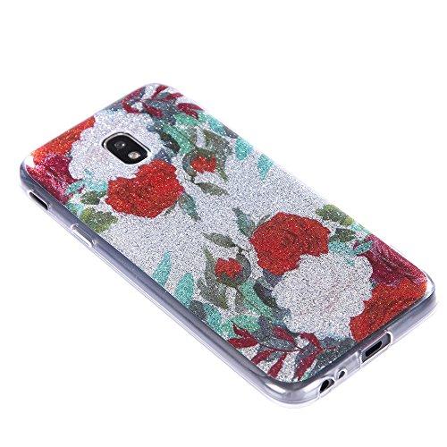 Funda Galaxy J3 2017,EUDTH Suave TPU Gel Funda Case Delgado Bling Resplandecer Silicona Fundas Carcasa Espalda para Samsung Galaxy J3 2017 (5.0 Pulgadas) Reading girl Rosas rojas y blancas