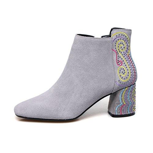corta stivali grigio caviglia QIN blocco quadrato Donna scarpe Testa 34 amp;X OxppTqRw4