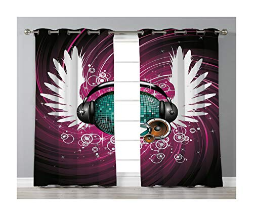 Goods247 Blackout Curtains,Grommets Panels Printed Curtains for Living Room (Set of 2 Panels,55 by 63 Inch Length),Popstar Party