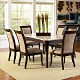 Steve Silver Company Marseille 5 Piece Marble Top Dining Table Set in Dark Cherry