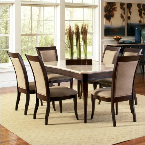 Steve Silver Marseille 7 Piece Marble Top Dining Set in Dark Cherry