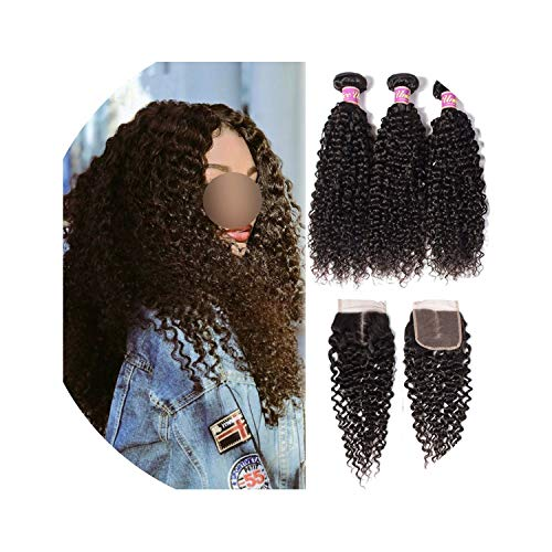 Hair Icenu Remy Hair Series Malaysian Curly Hair Bundles with Closure Human Hair Extension 4PCS Lace Closure With Bundles,26 26 26 & Closure20,Natural Color,Middle Part