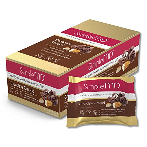 SimpleMD Chocolate Almond Mediterranean Bars, High Protein, Low Carb, Gluten-Free, w/ Red Wine and Olive Oil (12 Pack)