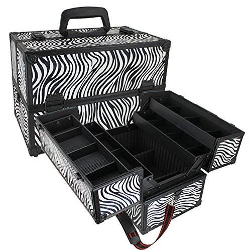 Seya Makeup Cosmetic Train Case w/ Adjustable Plastic Dividers (Zebra)