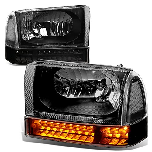 For 99-04 Ford F250/F350 Super Duty Pair of Black Housing Clear Corner Headlight + Bumper + LED Turn Signal Light