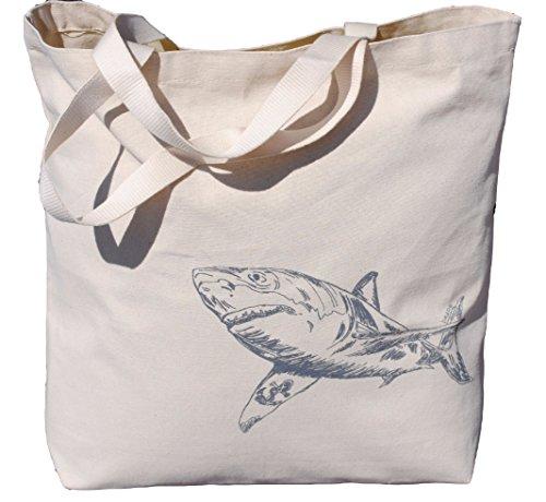 Beach Canvas Tote Bag - Shark with a Tatto - Nautical Travel Beach Market -