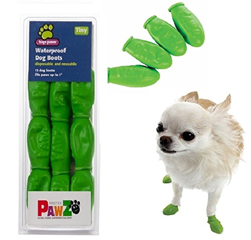 Top Paw PAWZ Waterproof Dog Boots - Helps Protect Your Pet's Paws (Disposable & Reusable) - Green (Tiny)