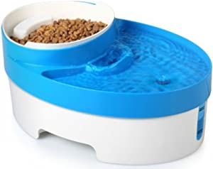 Filtered Pet Fountain Feeder with Removable Food Bowl and Built-In Nightlight Safety Light - Great for Cats and Dogs - Super Quiet Operation - Holds and Filters Up To Three Liters of Water - BPA Free - Blue