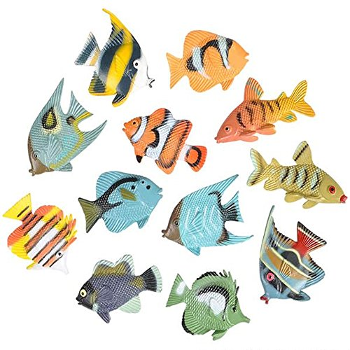 ArtCreativity Tropical Fish (Pack of 12) | Plastic Fish Figurines | Colorful Variety | Fun Learning Tool | Cool Party Favors/ Gift Idea for Boys and Girls ()