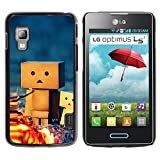 Rubber Case Hard Shell Cover Protective Accessory By RAYDREAMMM - LG Optimus L5 II Dual E455 E460 - 3D Figurine Friendship Camping Play Art