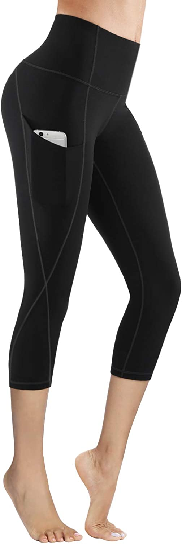 PHISOCKAT High Waist Capris Yoga Pants with Pockets Tummy Control Workout 4 Way Stretch Capris Yoga Leggings