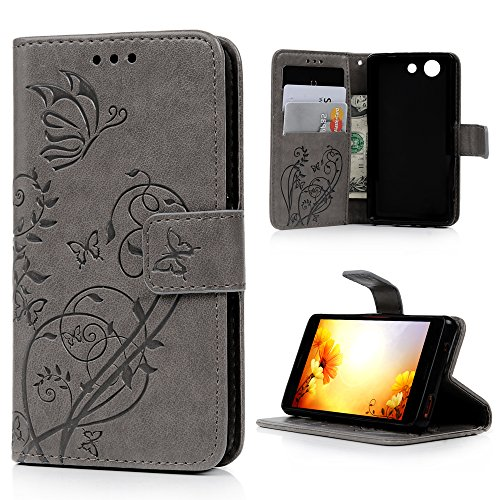 Xperia Z3 Compact Case, YOKIRIN Premium PU Leather Emboss Butterfly Pure Color Card Slot Folio Wallet Case Cover for Sony Xperia Z3 Compact with Kickstand Stand and Wrist Strap - Gray (Sony Z3 Replacements Edges compare prices)