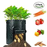 YesTree Garden Potato Grow Bag 2-Pack 7 Gallon Vegetables Planter Bags with Handles and Access Flap, Duty Suitable for Vegetables,Potato, Carrot, Tomato
