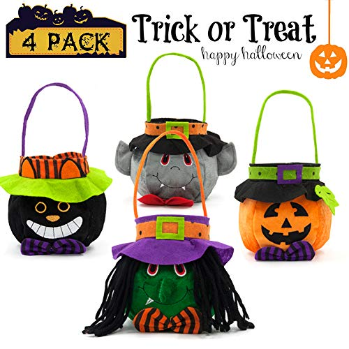 Trick or Treat Bags Pumpkin Halloween Kids Candy handbag Tote for Children Candy Bucket Gift Costume Party 4 Pieces