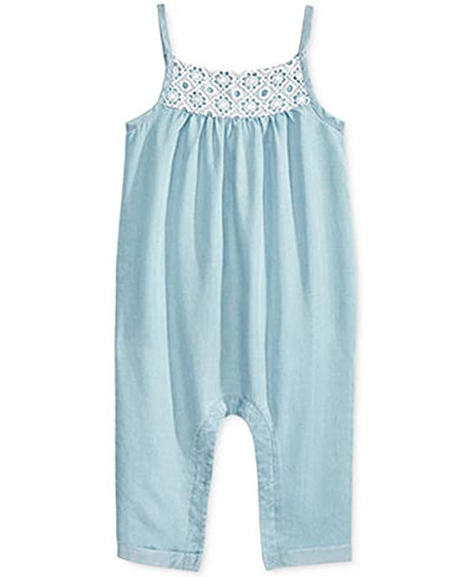 9478e67a1f40 Amazon.com  First Impressions Crochet-Detail Chambray Romper Light ...