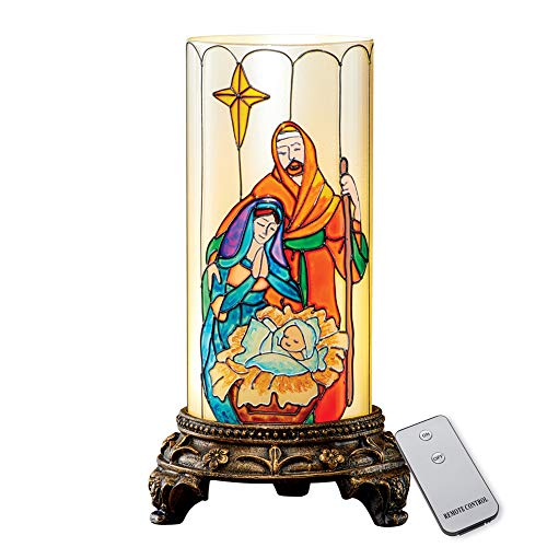 Beautiful Stained Glass Nativity Flameless Candle with Remote Control - Inspirational Indoor Christmas Decorations ()
