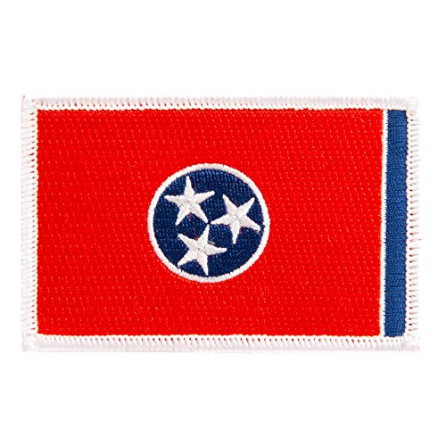 Tennessee Flag Patch Single 3.5Wx2.25H Iron On Sew Embroidered Tactical Morale Back Pack Hat Bags (Single Patch)