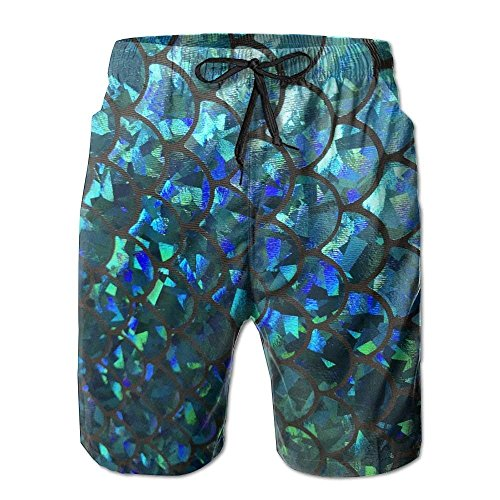 3596bb8cd4a19 best bags Turquoise Stretch Mermaid Scales Men's Summer Beach Quick-Dry Surf  Swim Trunks Boardshorts Cargo Pants Large