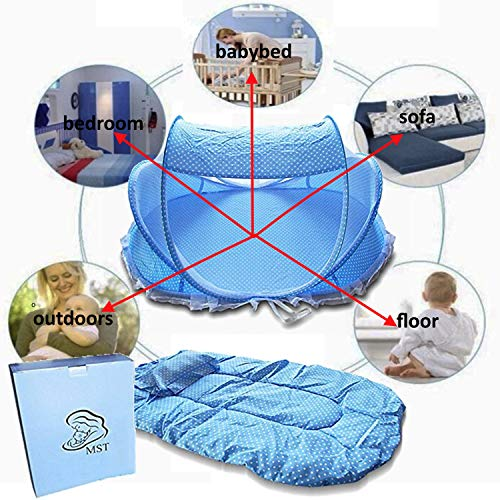 Baby Travel Bed Crib,Foldable Baby Infant Cradle Anti-Bug Tent with Protective Mosquito Net, Portable with Mattress Pillow for 0-18 Month Baby Outdoors and Indoors(Blue) (Travel Indoor Bed Outdoor)