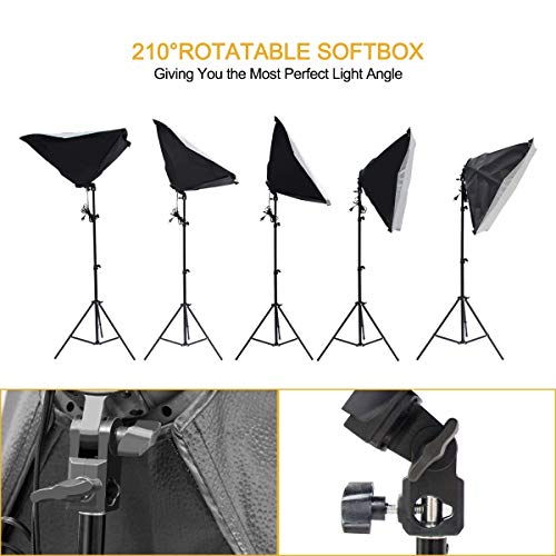 Wisamic Photography Video Studio Lighting Kit, Background Support System 10ft x 6.6ft/2MX3M with 3 Color Backdrop & Umbrella & Softbox, Continuous Lighting Kit for Photo Video Shooting Photography by Wisamic (Image #4)