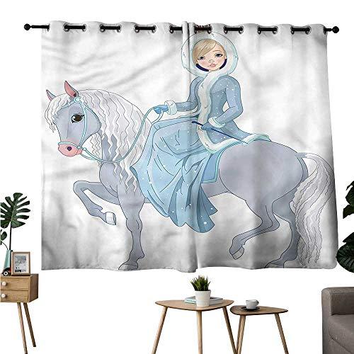 (Williasm top Darkening Curtains Grommet Curtain Kitchen Princess,Girl Riding a Magic Horse Room/Bedroom W72 x)