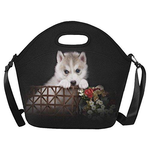 InterestPrint Cute Husky Basket Large Reusable Insulated Neoprene Lunch Tote Bag Cooler 15.04
