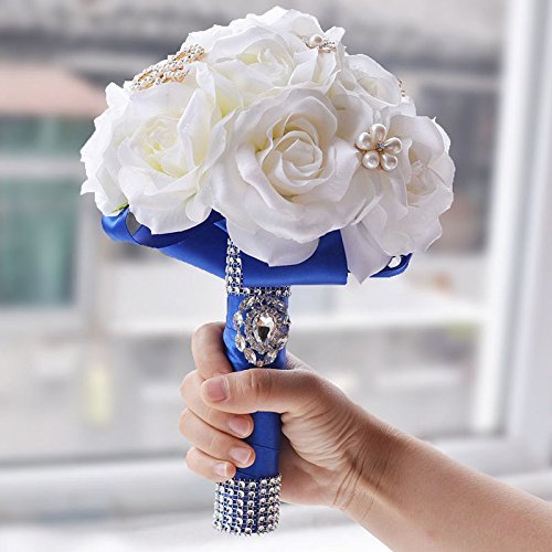 Abbie Home Bride Bouquets-Wedding Flower Bouquet Handmade Orchid Rose with Royal Blue Silk Belt and Holding (413B)